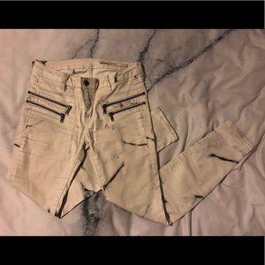 Zara marble skinny pants with zipper detail